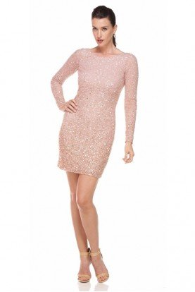 Aidan Mattox Long-Sleeve Sequined Cocktail Dress