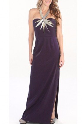 Aidan Mattox Beaded Halter Neckline Jersey Dress Gown Purple