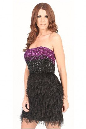 Badgley Mischka Sequin Black Feather Cocktail Dress