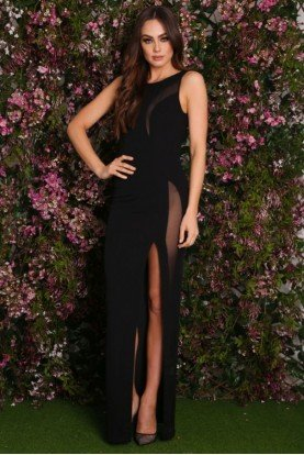 Alamour Open Back Black Slit Illusion Gown Dress