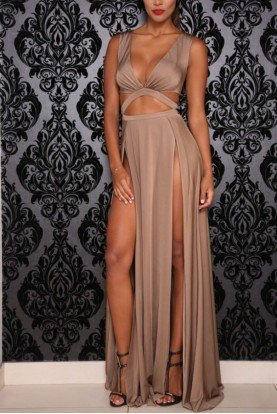 Craving Cutout Gown Tan Bronze High Slit
