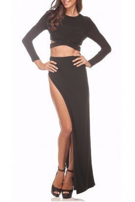 Mariah Black Cutout Two Piece Dress Prom Gown