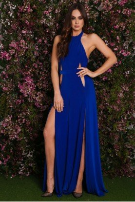 Mario Cutout Gown High Slit Open Back Royal Blue