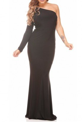 Abyss by Abby Posha Black One Shoulder Long Sleeve Gown Dress