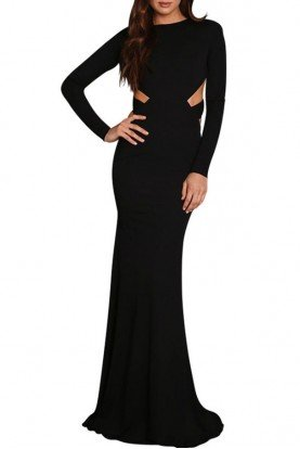 Abyss by Abby Resis Crossbody Cutout Gown Black