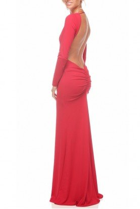 Saba Bodycon Gown Open Back in Red