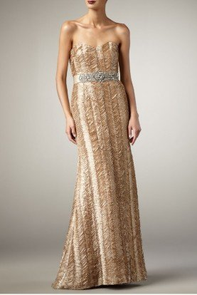 Fairy Silk Beautiful Belted Gown in Almond Color