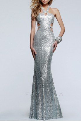 Silver Sequin Open Back Hypnotic Halter Gown 7509