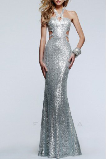 Faviana Silver Sequin Open Back Hypnotic Halter Gown 7509