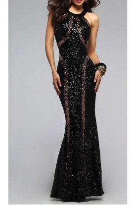 Copper Sequin Scoop Dress 7708