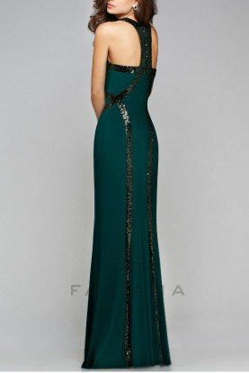 Blazing Emerald Green Sequin Trim Gown Dress 7708