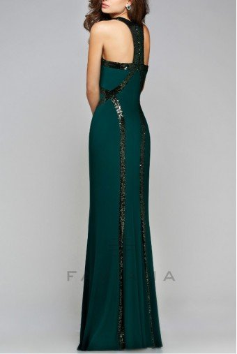 Faviana Blazing Emerald Green Sequin Trim Gown Dress 7510