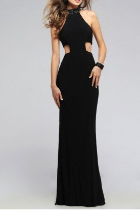 Faviana 7728 Cut Out Open Back Jersey Dress Gown