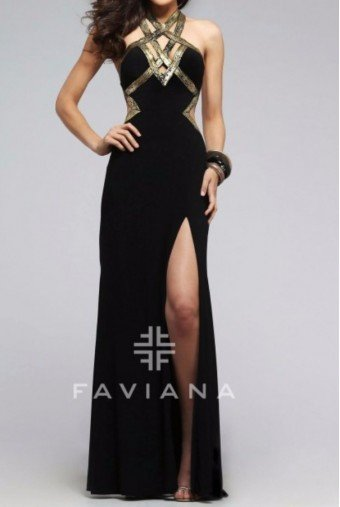 Faviana Black Gold Strappy Halter Gown 7735