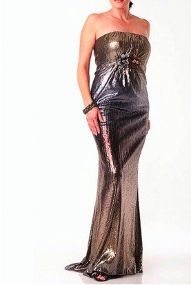 Strapless Ombre Silver Gold Sequin Gown