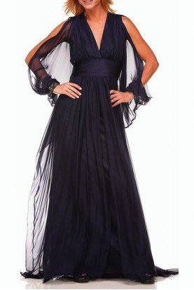 Badgley Mischka Navy Slit Cut Dress