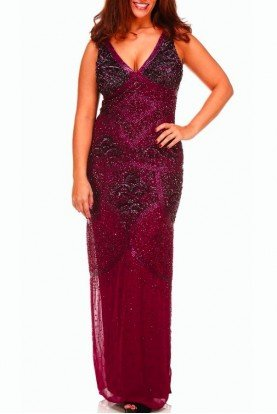 Aidan Mattox All Over Sequin V Neck Beaded Dress Gown