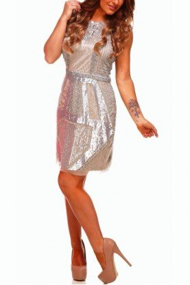 Modern Marvel Silver Beaded Cocktail Dress