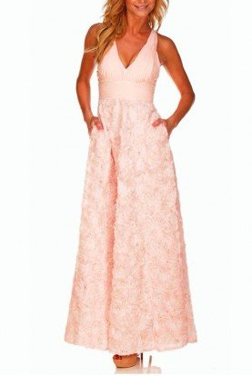 Aidan Mattox Blush Flower Gown