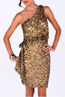 Gold Beaded One Shoulder Dress