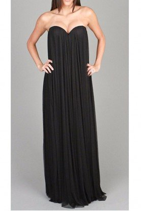 Ema Savahl Silk Maternity Long Black Flowy Gown