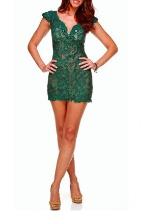 Ema Savahl Lace 3D Emerald High Cap Sleeve Dress