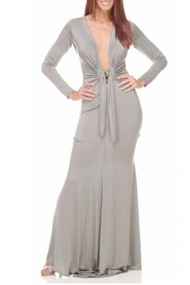 Ema Savahl Deep V Neck Heavenly Dress in Silver