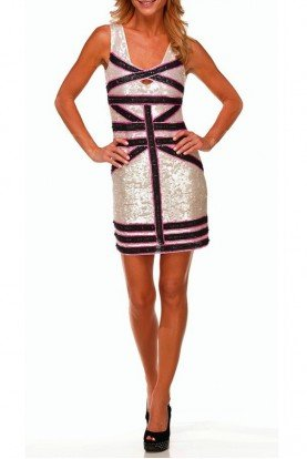 Farah Khan Belucci Pearl Sequin Short Dress