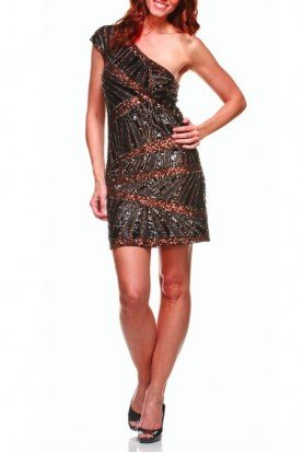 Farah Khan Black & Bronze Sequin Dress