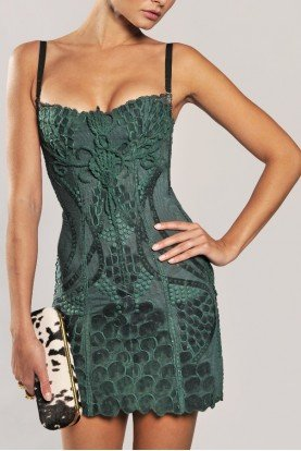 Fusion Intricate Handpainted Emerald Green Dress