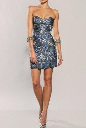Fluter Strapless Gladiator Dress in Ocean Blue