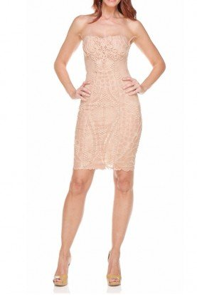 Ema Savahl Fusion 3D Lace Nude Heart Corset Dress
