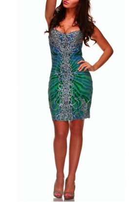 Ema Savahl Heartshape Swarovski Encrusted Corset Dress