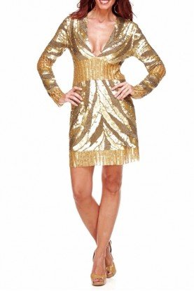 Gold Sequin Blake Cocktail Party Dress