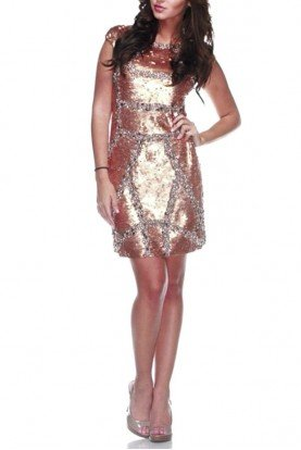 Virginia Sequin Short Bronze Gold Dress