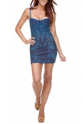 Ema Savahl Fusion 3D Lace Intricate Cobalt Dress