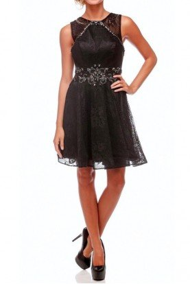 Clarisse Mesh Black Cocktail Dress 2692 Short Prom Homecoming