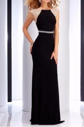 Black Crystal Cap Sleeve Gown 2729
