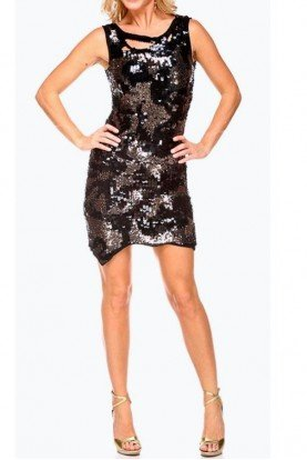 Birthday Girl Black Gold Sequin Dress