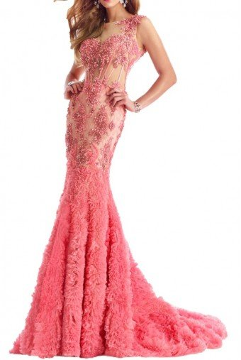 Janique Flower Applique Blush Pink Evening Gown Dress 1514