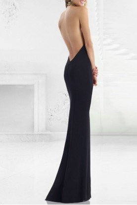 Beaded Halter Neck Evening Gown Black w992