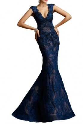 Navy Blue Beaded Lace V Gown W977