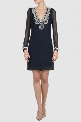 Bex Beaded Navy Short Silk Dress