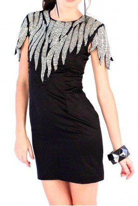 French Connection Dallas Delight Sequin Detail Dress in Black