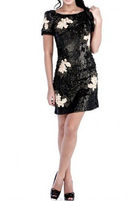 Violet Thunder Black Flower Sequin Dress