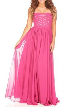 Aidan Mattox Berry Pink Chiffon A Line Ball Gown Prom Dress