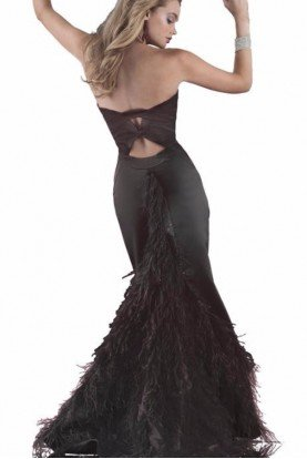 Black Feather Train Gown High Slit 4574