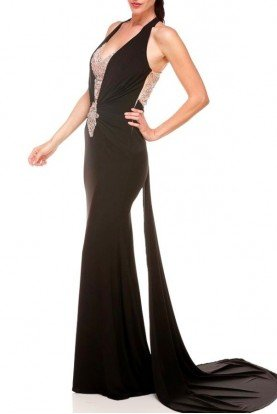 Black Plunging Evening Gown