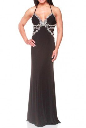 Jasz Couture Black Sheer Side Panel Formal Gown Open Back