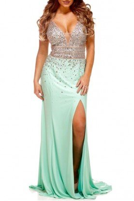 Jasz Couture Christina Dress Mint Green 5338 Slit Open Back
